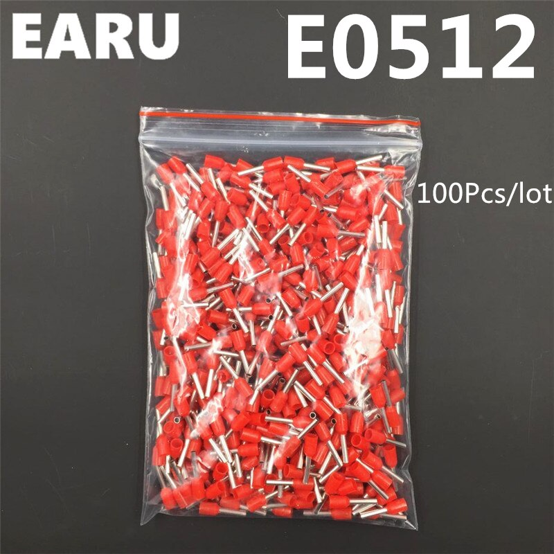 100 Uds E0512 tubo de Terminal aislado aislante 0.5MM2 22AWG conector de cable de crimpado aislante E negro amarillo Azul Rojo verde