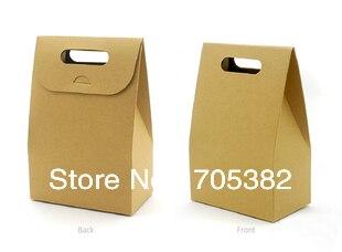 10X6X15.5cm Handle paper cookie bags kraft paper bag functional food packing supplies(ss-6222)