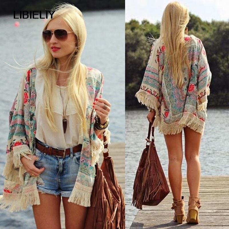 Bom verão chiffon blusa retro boho floral rendas cardigan hippie kimono casaco blusa capa blazer jaqueta topo