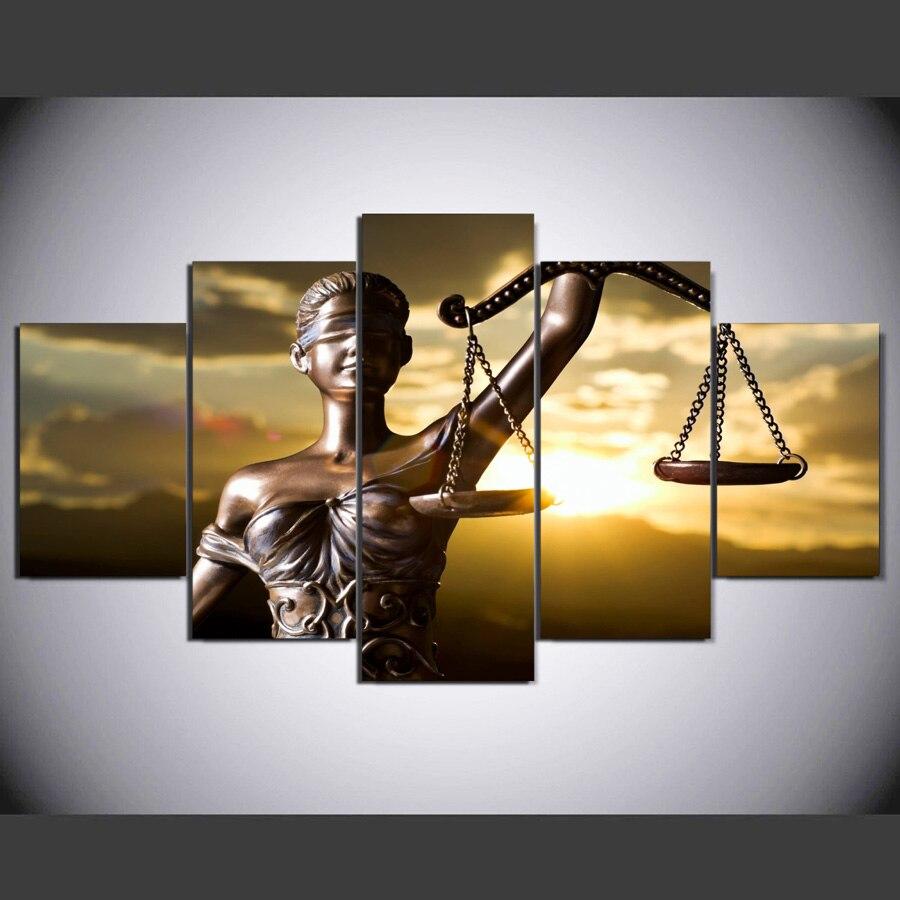 5 stück Leinwand Malerei mit dem bild von Themis göttin der gerechtigkeit HD Gedruckt room decor wandbilder für schlafzimmer no frame