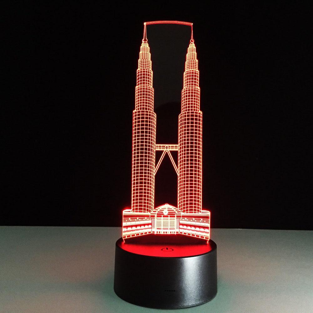 Lámpara LED 3D de doble torre con USB, lámpara de mesa de colores novedosos, interruptor Visual 3D de construcción, bonita luz nocturna para decoración del hogar