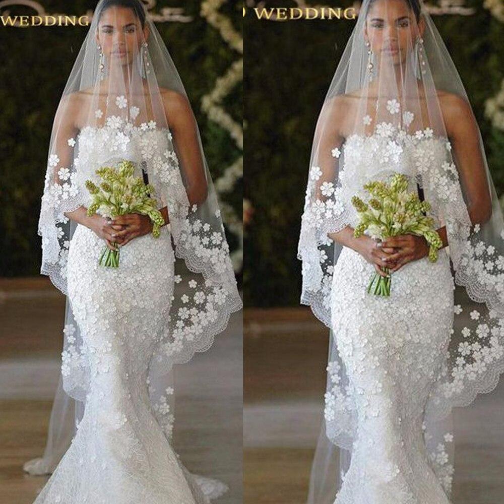 Velos de boda con flores hechas a mano, velos largos de novia 3D, velos largos de boda baratos hechos a medida, velos largos de 3 metros