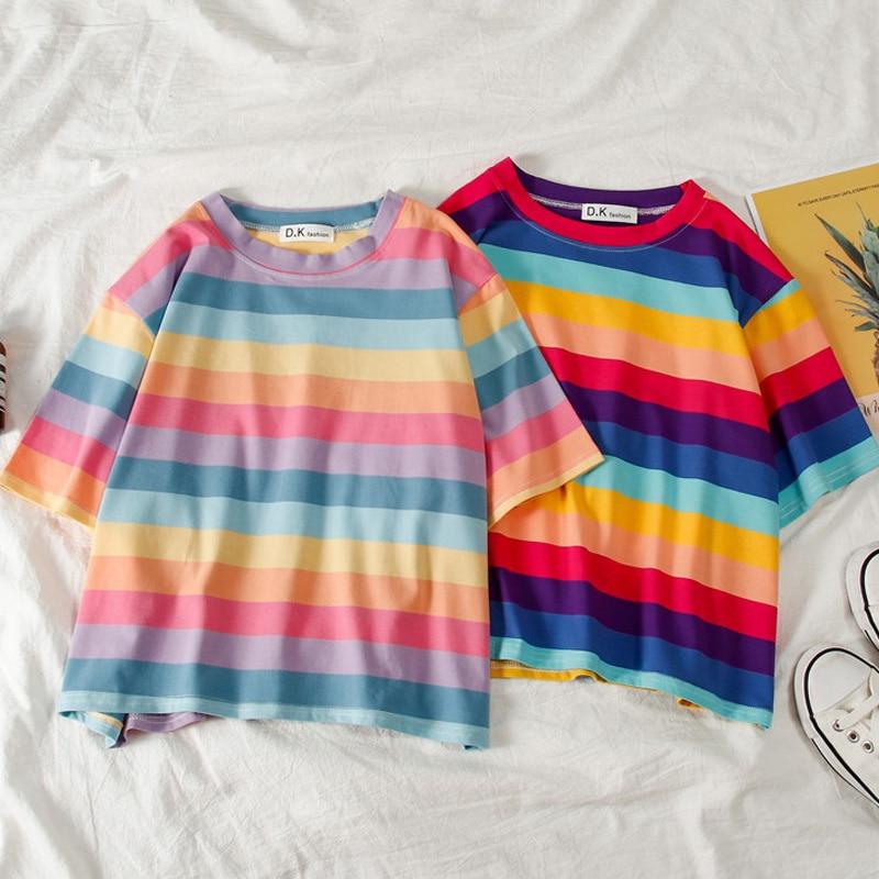 NOVEDAD DE VERANO camiseta de mujer Arco Iris kawaii top recortada rayada Harajuku camiseta de manga corta Punk coreano 90s camisetas camiseta femenina