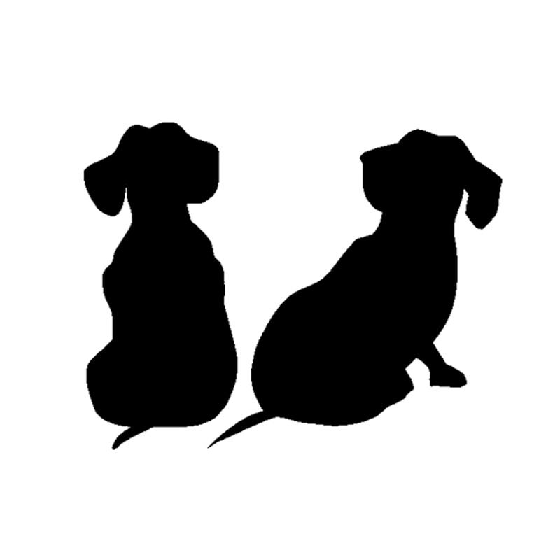 HotMeiNi, 13*10cm, cachorros de perro salchicha, pegatinas de vinilo para coche, pegatina para SUV, camión, parachoques para barcos, pared del hogar, negro/plateado