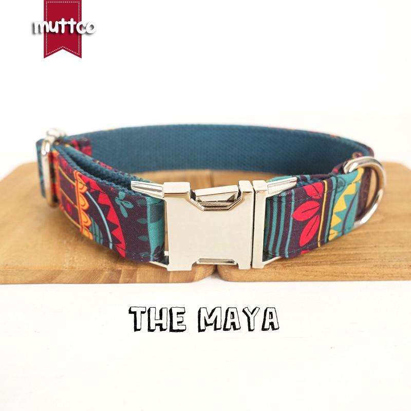 Мягкие цветные ошейники MUTTCO в этническом стиле ручной работы, 10 шт./лот, самостоятельный ошейник для собак MAYA, 5 размеров, UDC043