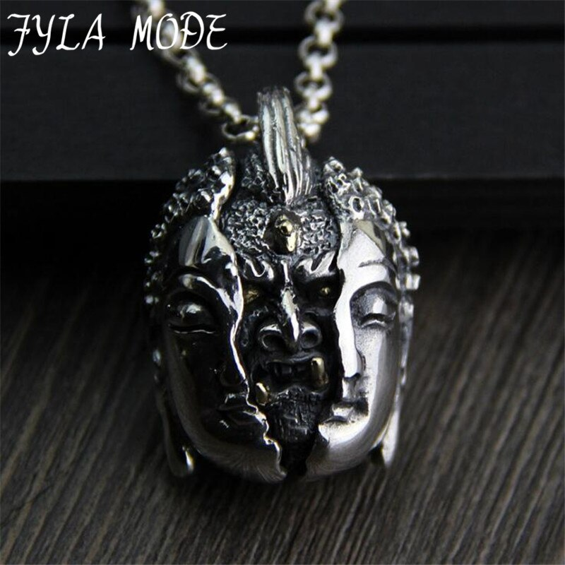 JINSE S925 Sterling Silver Pendant Personality Male Hand Carved Evil From The Heart Thai Silver Necklace Pendant 26*37MM 29G
