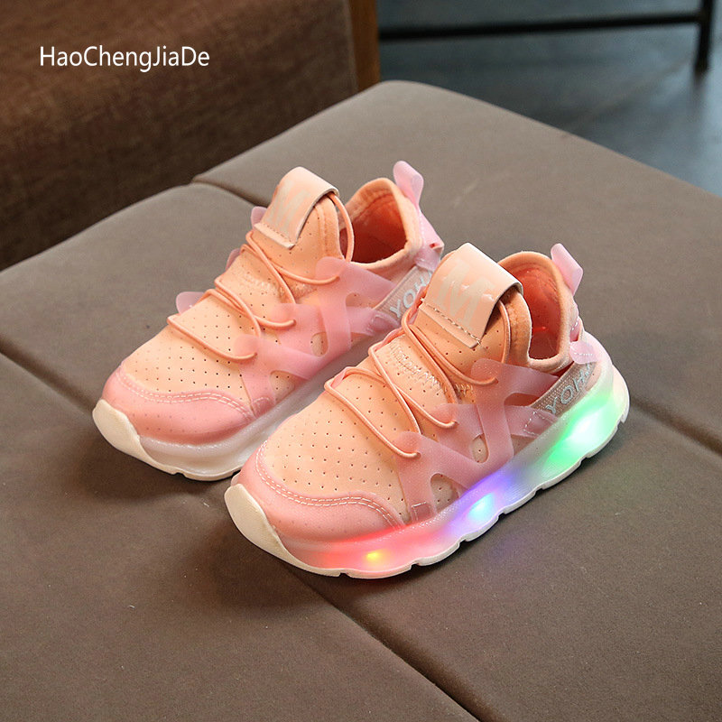 Nova Primavera Outono Crianças Tênis Brilhantes Com Luz LED Sheos Bebê Sapatos Meninos Meninas Crianças sapatos de Desporto Respirável Tamanho 21 ~ 30