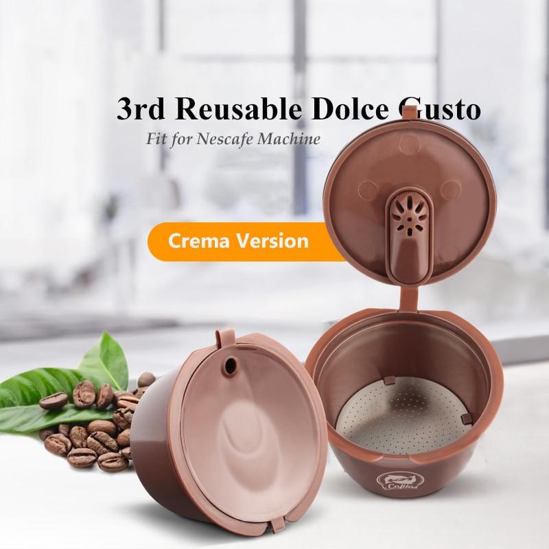 Cápsula de café reutilizável com filtro, 3ª geração, para cafeteira dolce gusto, cestas