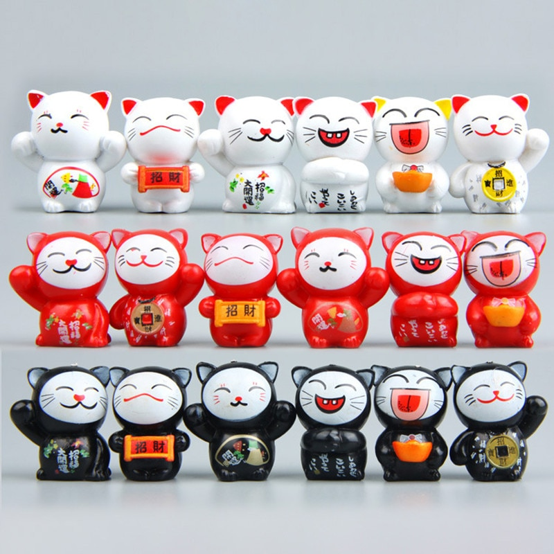 6 pçs dos desenhos animados gatos sorte micro paisagem gatinho feng shui casa jardim decorações miniaturas ornamentos presente gpd8726