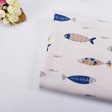 Tissu en coton et lin imprimé de poisson   Au mètre pour le bricolage, couture, nappe de rideau de canapé, matériel en coton
