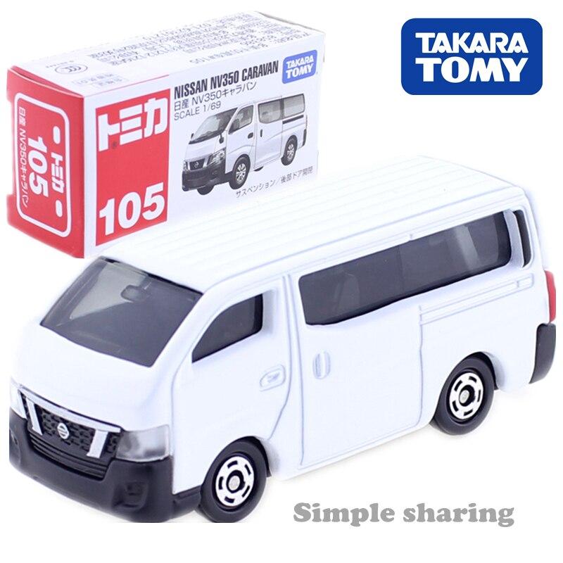 Tomica NO 105 Nissan NV350 caravana blanca 1:69 Takara Tomy Diecast coche de metal en modelo de vehículo de juguete