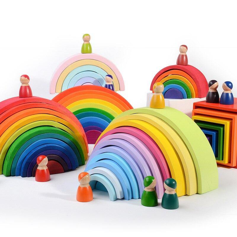 Juguetes de madera coloridos Arco Iris bloques para apilar 12 Uds. Apilador de bloques arcoíris juguetes para bebé Montessori educación Unisex