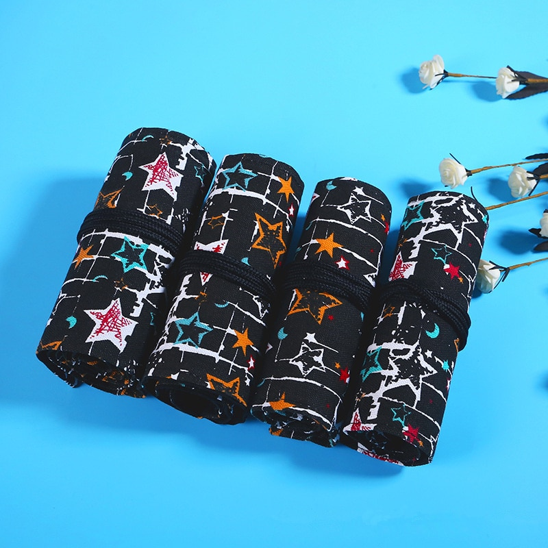 36/48/72 Holes Canvas Star Pencil Case School Roll Pouch Cosmetic Makeup Brush Pen Storage Box Art Penalty
