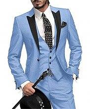 Sky Blue Italian Classic Purple Tuxedo Groom Prom Pink Dress Wedding Dress Elegant Slim Men's Suit 3 Piece Set