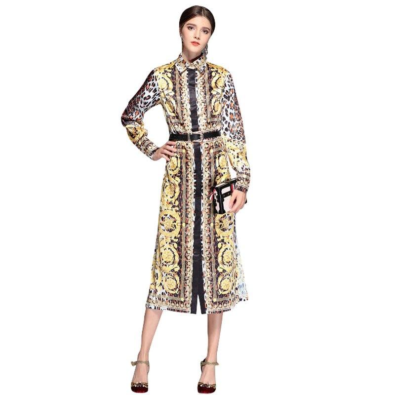 Kobiety Runway sukienka 2019 wysokiej jakości skręcić w dół kołnierz z długim rękawem serpentyn Retro drukowane elegancka koszula sukienka NPD0307L