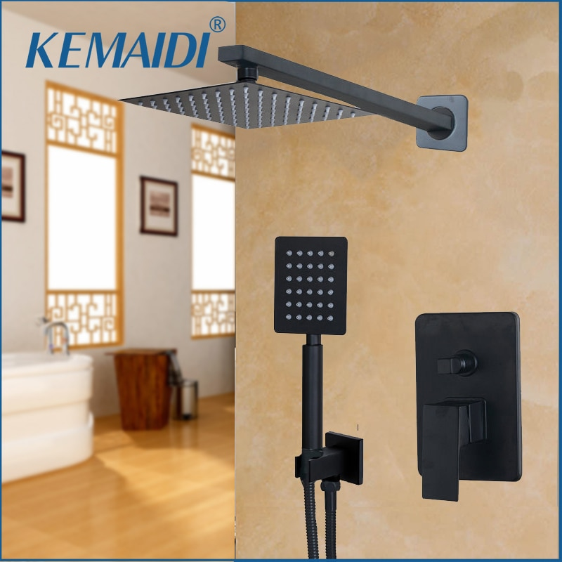 KEMAIDI-رأس دش الحمام LED ، 8 10 12 16 بوصة ، مثبت على الحائط ، صنبور مطر ، دش ومجموعة دش يدوية ، أسود