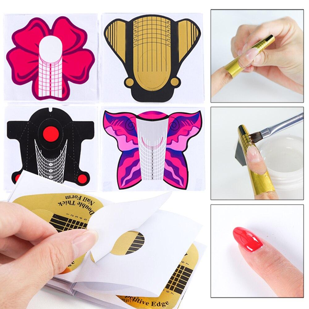 10 unids/lote auto-adhesivo forma de uñas de la bandeja de papel Guider de manicura punta para uñas de acrílico UV Builder de Gel SA941