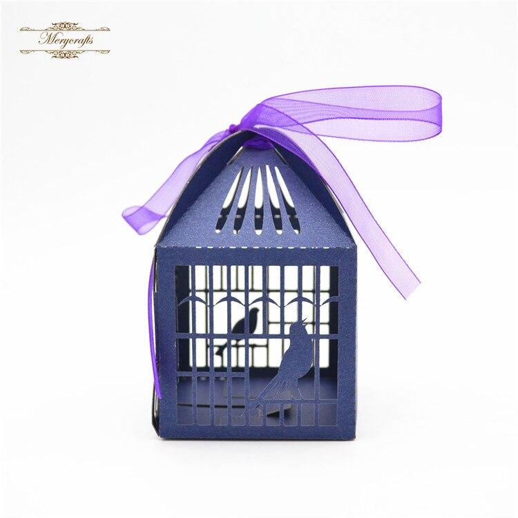 Птица клетка лазерная резка Темно-Синий персонализированные свадебные коробки конфет