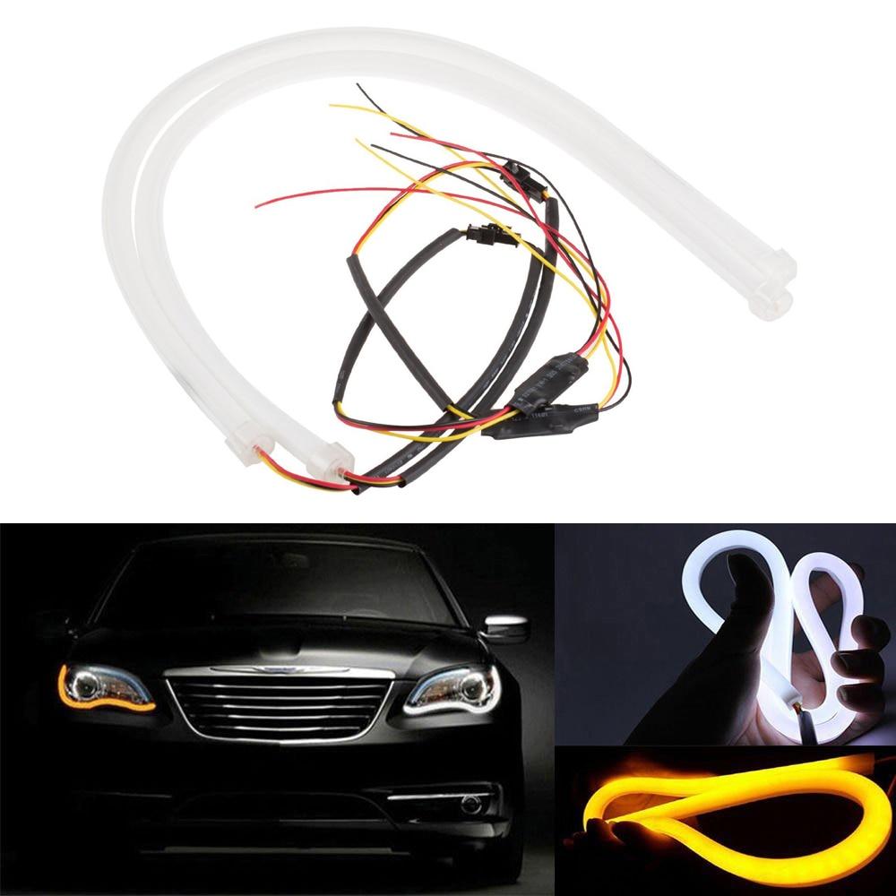 2 piezas 85 3020 CM 258 LED del coche LED DRL lágrimas luz lámpara diurna DRL de señal de vuelta de luz blanca tira de luz Flexible ámbar DC12V