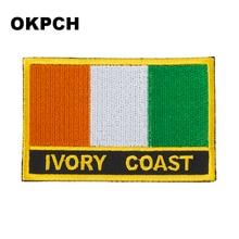 Parches con forma Rectangular de Costa de Marfil Parches de bandera bordada parches de bandera nacional para decoración de ropa DIY PT0093-R