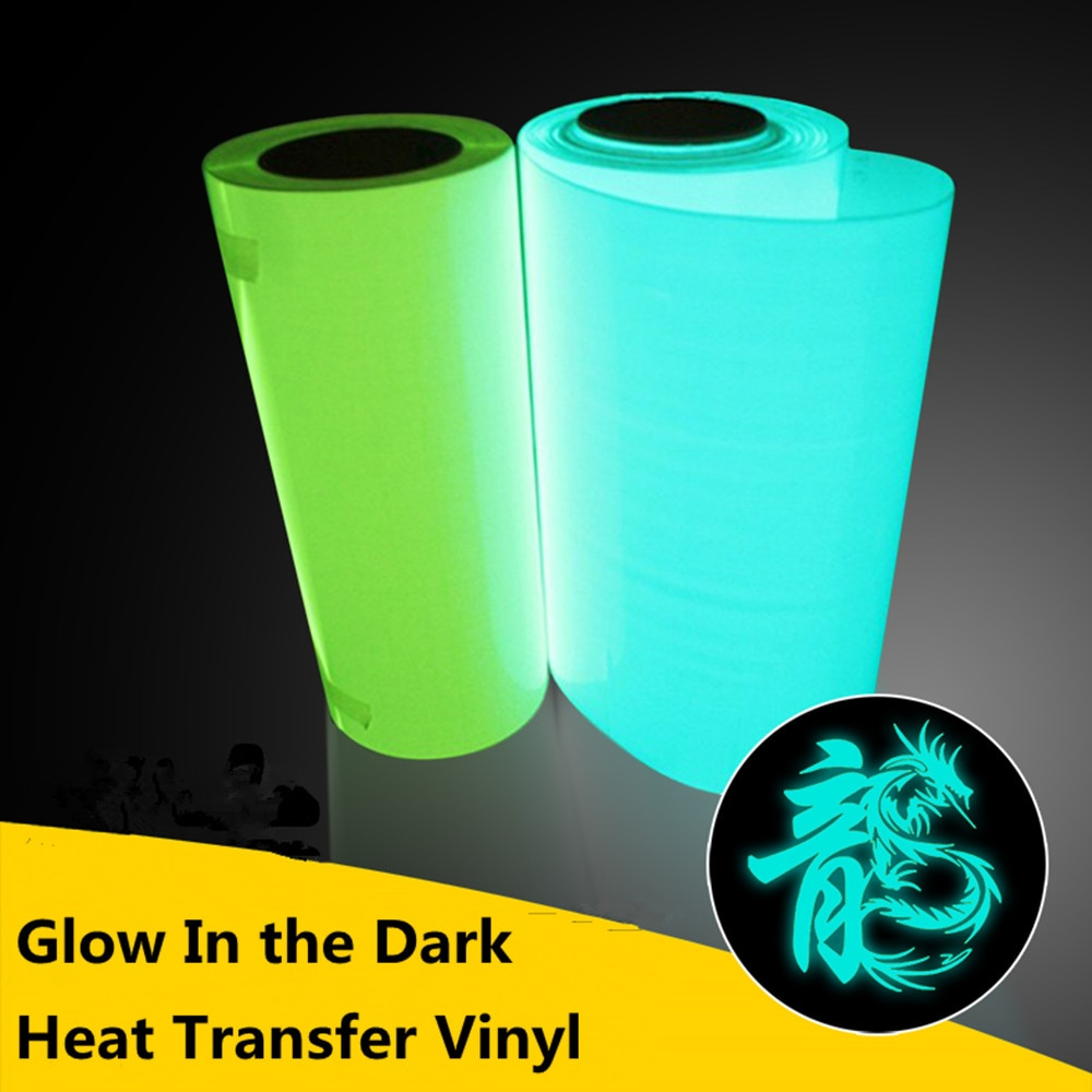 "1 sheet 8""x11""/21cmx30cm PU Glow In the Dark Heat Transfer Vinyl T-shirt Iron On HTV Heat Press Machine Cutting Plotter Hot Sale"