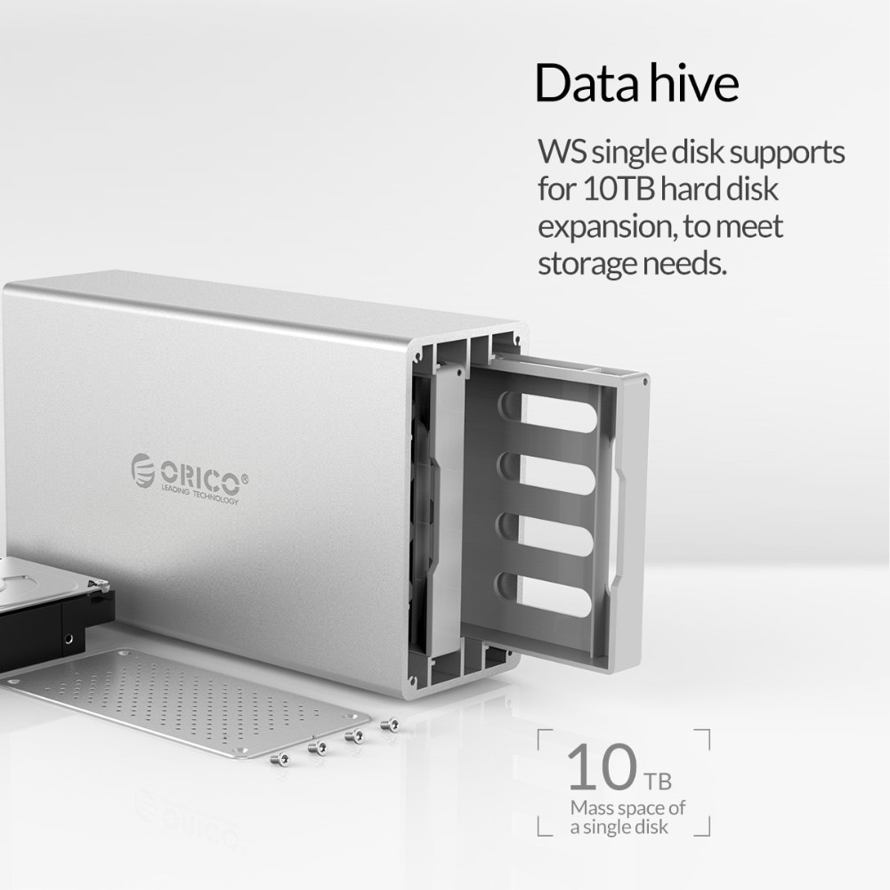 ORICO WS Series 2 Bay 3.5'' USB3.0 Hard Drive Case With Raid Aluminum 5Gbps HDD Enclosure With 12V Power Adapter Support 20TB enlarge