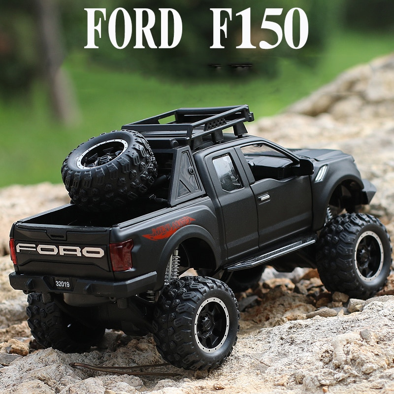1 32 mini alloy pickup truck ford raptor f150 pick up alloy model toy car for sound and light and sliding car KIDAMI Alloy 1:32 Ford Raptor F150 Truck Model Car Diecast Vehicle Off-road SUV Kids Toy Car For Boys Children Gifts Collection