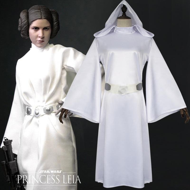 Movie Star Wars Leia Organa Solo cosplay costume Halloween white dress costume