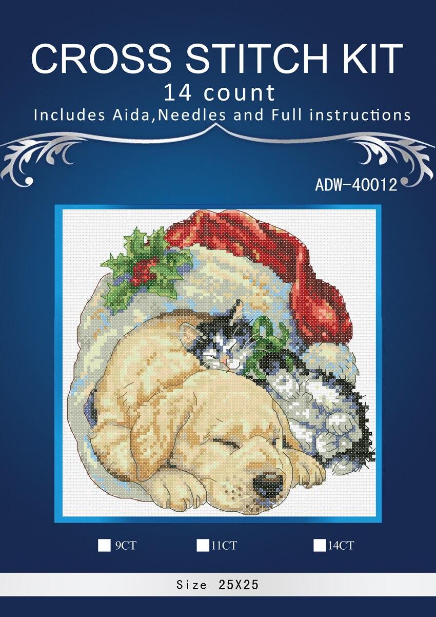 Colección dorada, bonito Kit de punto de cruz contado, Navidad, mañana, mascotas, perro, cachorro, gato, gatito, gatito, dim 08826 8826