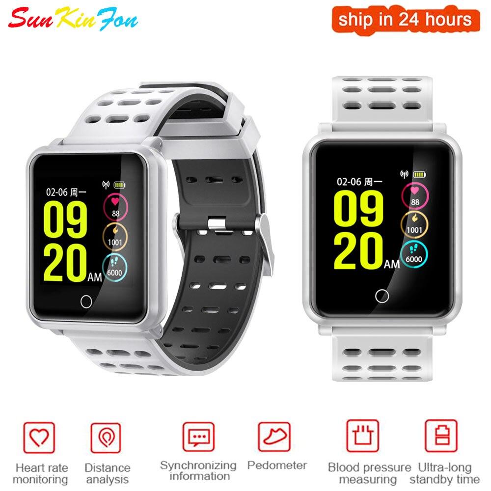 Para Samsung S5 S4 S3 A9 Super definición pantalla grande deportes reloj inteligente impermeable pulsómetro Monitor de presión arterial Smatwatch