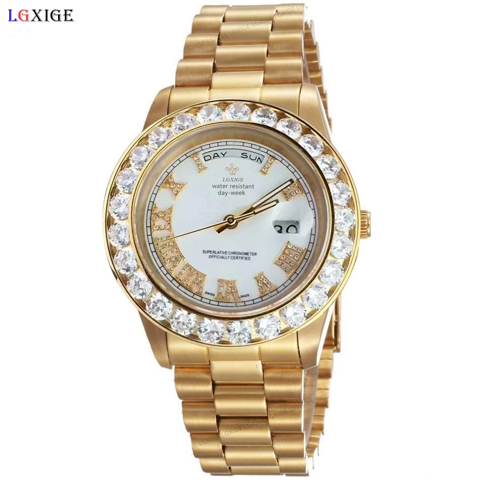 Luxury Big Diamonds watches for A2813 18K mens brand President Day AAA diamond wrist watch men sapphire original WristWatches
