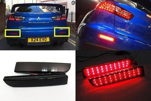 Reflector de luz trasera de frenos para objetivo negro ahumado LED para Mitsubishi Lancer EVO X 2008-2014