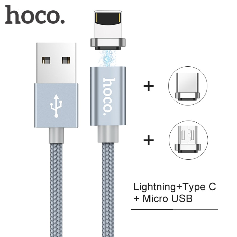 HOCO Micro USB tipo C Lightning 2 en 1 Cable magnético 2A Cable de datos de carga rápida adaptador de enchufe de polvo para cables de teléfono móvil Ipad