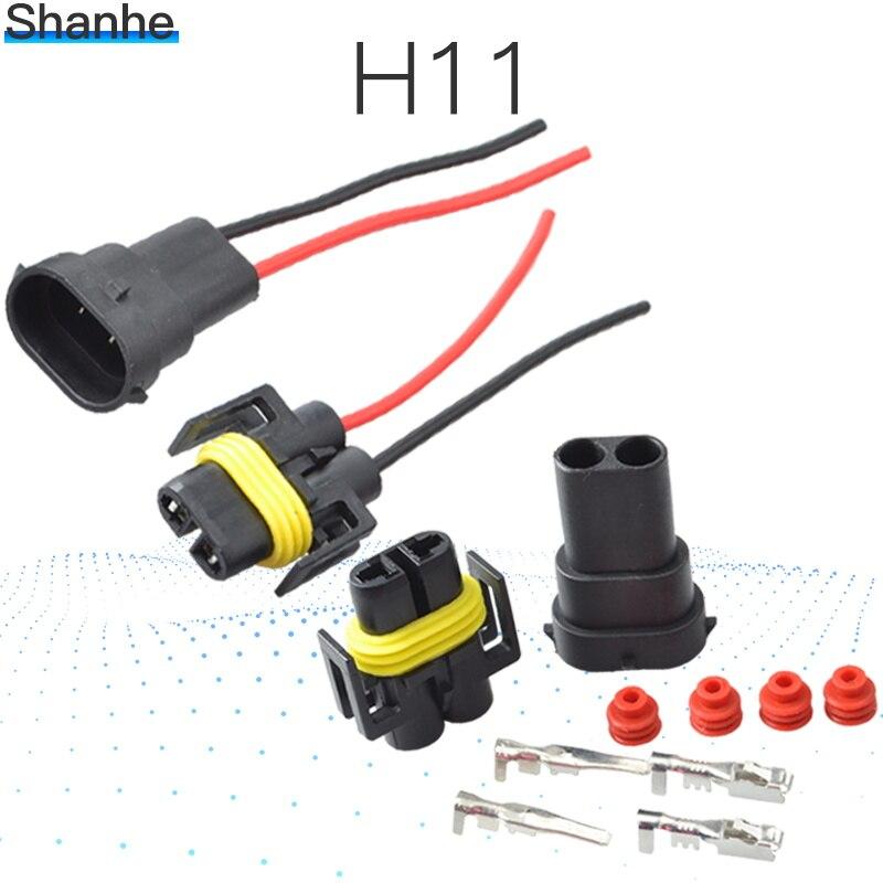 1 kits H8 H9 H11 arnés de cableado Socket coche de cable enchufe de cable conector adaptador para HID LED faros antiniebla bombilla para faro delantero Led Luz