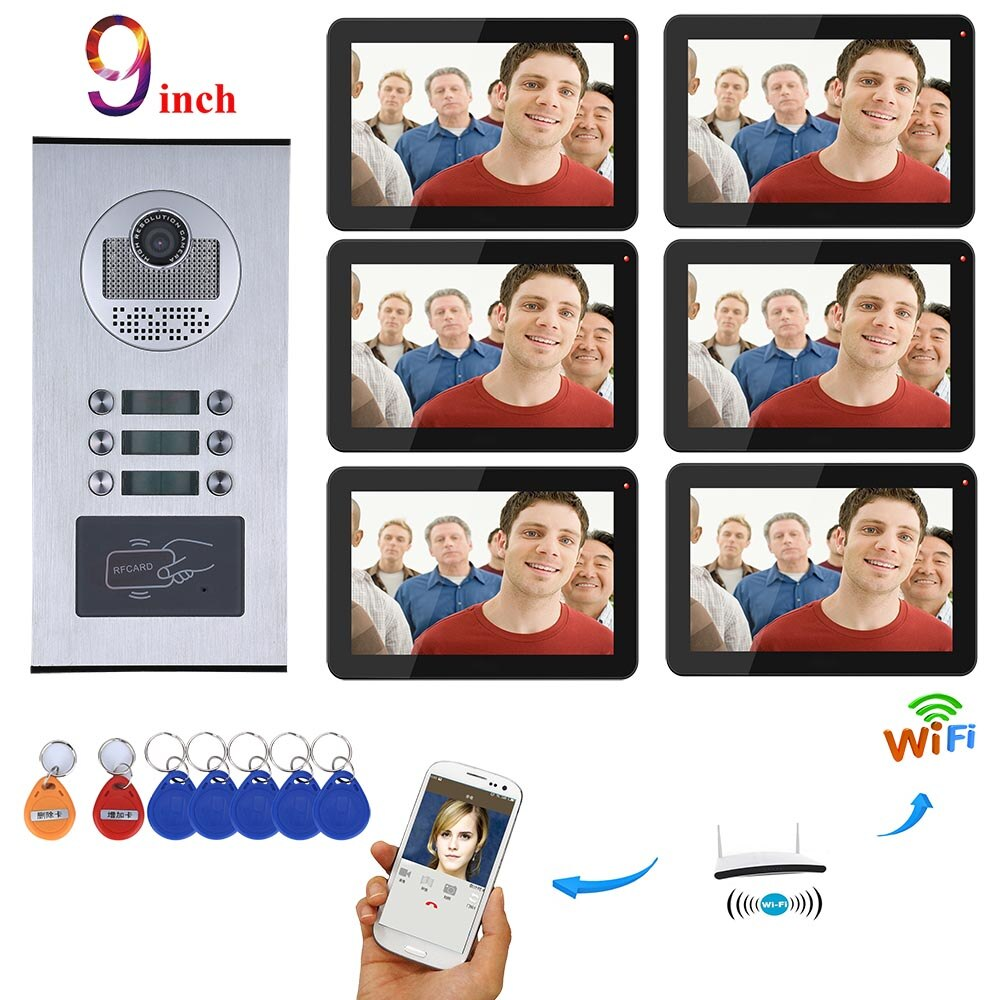 Sistema de videoportero MOUNTAINONE, 6 apartamentos de 9 pulgadas, sistema de teléfono de puerta Wifi, IR-CUT RFID, cámara de timbre HD 1000TVL