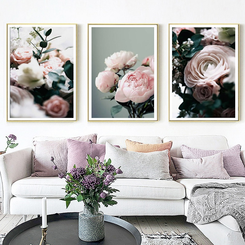 Pintura de lienzo Floral peonías modernas galería Pared de flores arte pósteres impresos cuadros de estilo nórdico para sala de estar decoración Interior del hogar