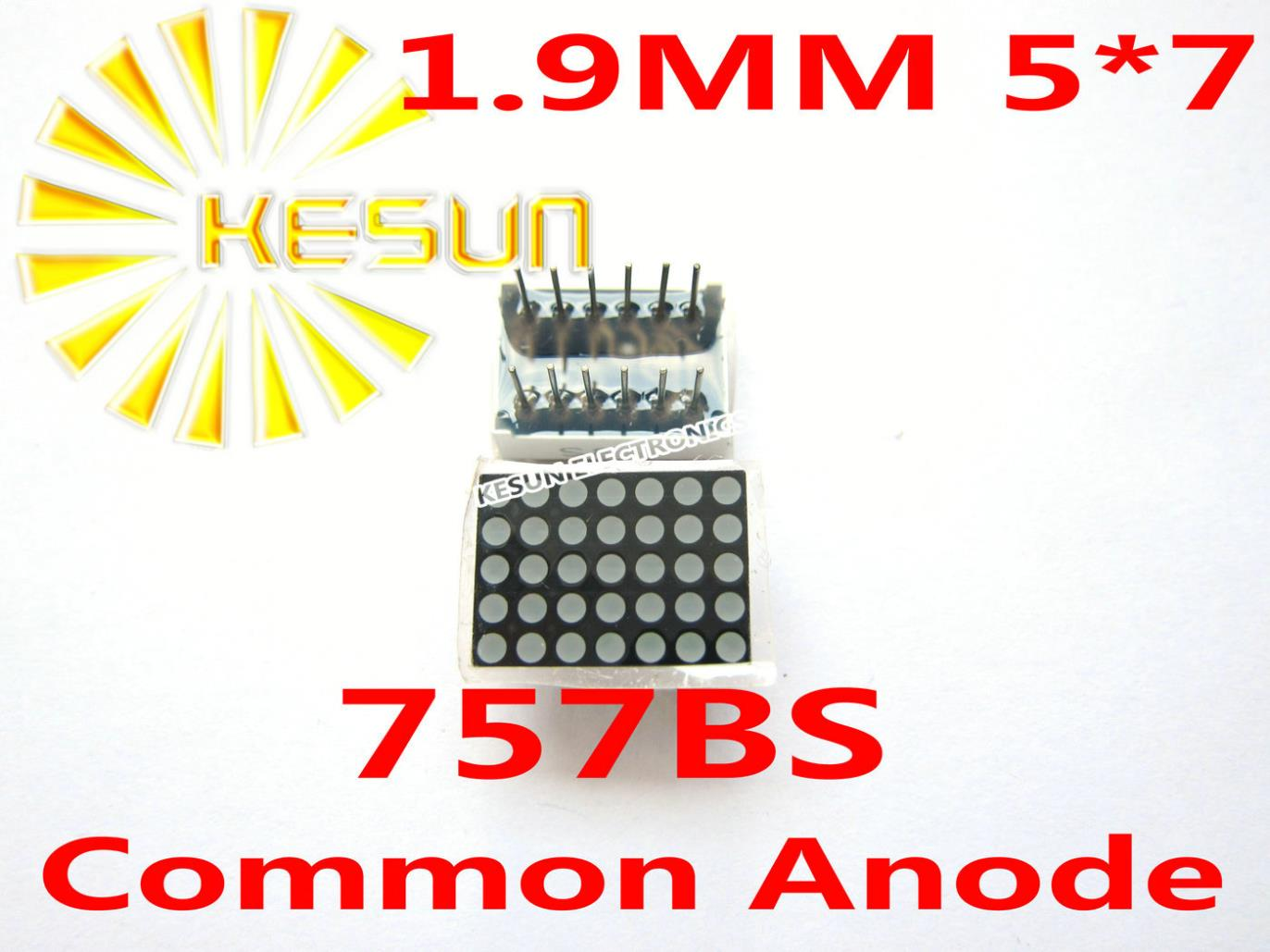 Envío Gratis, 10 Uds. x 1,9 MM 5X7, módulo de tubo Digital de matriz de puntos de ánodo común LED rojo, 757BS Módulo De Pantalla LED