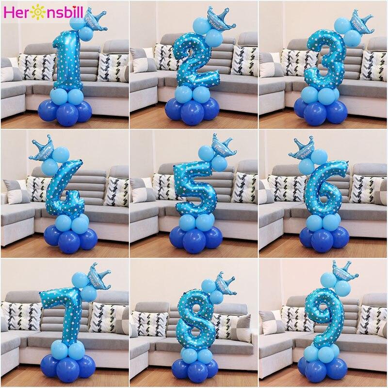 Heronsbill 1st От 1 до 9 лет С Днем Рождения Фольга номер воздушные шары для маленьких мальчиков и девочек украшения для вечеринок Товары для детей 2nd 3rd