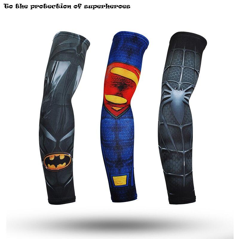 Los Vengadores superhéroes Capitán América Cuff batman y Spiderman Superman calentadores de brazo de secado rápido impresión 3d Unisex entrenamiento manga del brazo