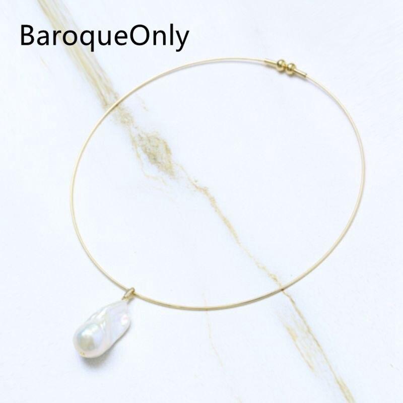 BaroqueOnly una perla grande barroca 25-30mm colgante gargantilla de ostra de alto brillo perla de agua dulce accesorio de estilo Simple