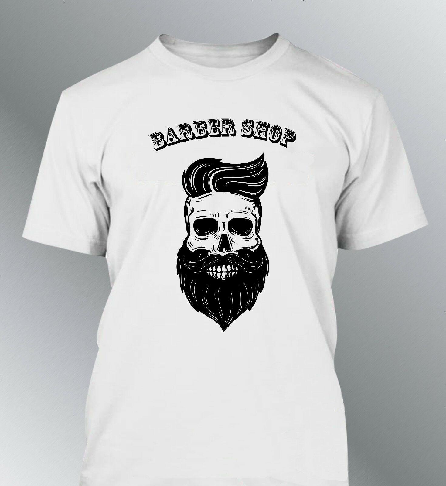 T Hemd Homme Hipster Schädel Tete De Mort Barbu Barber Shop Barbe Neue Männer Mode Top T Freies Verschiffen Hüfte hop T Hemd