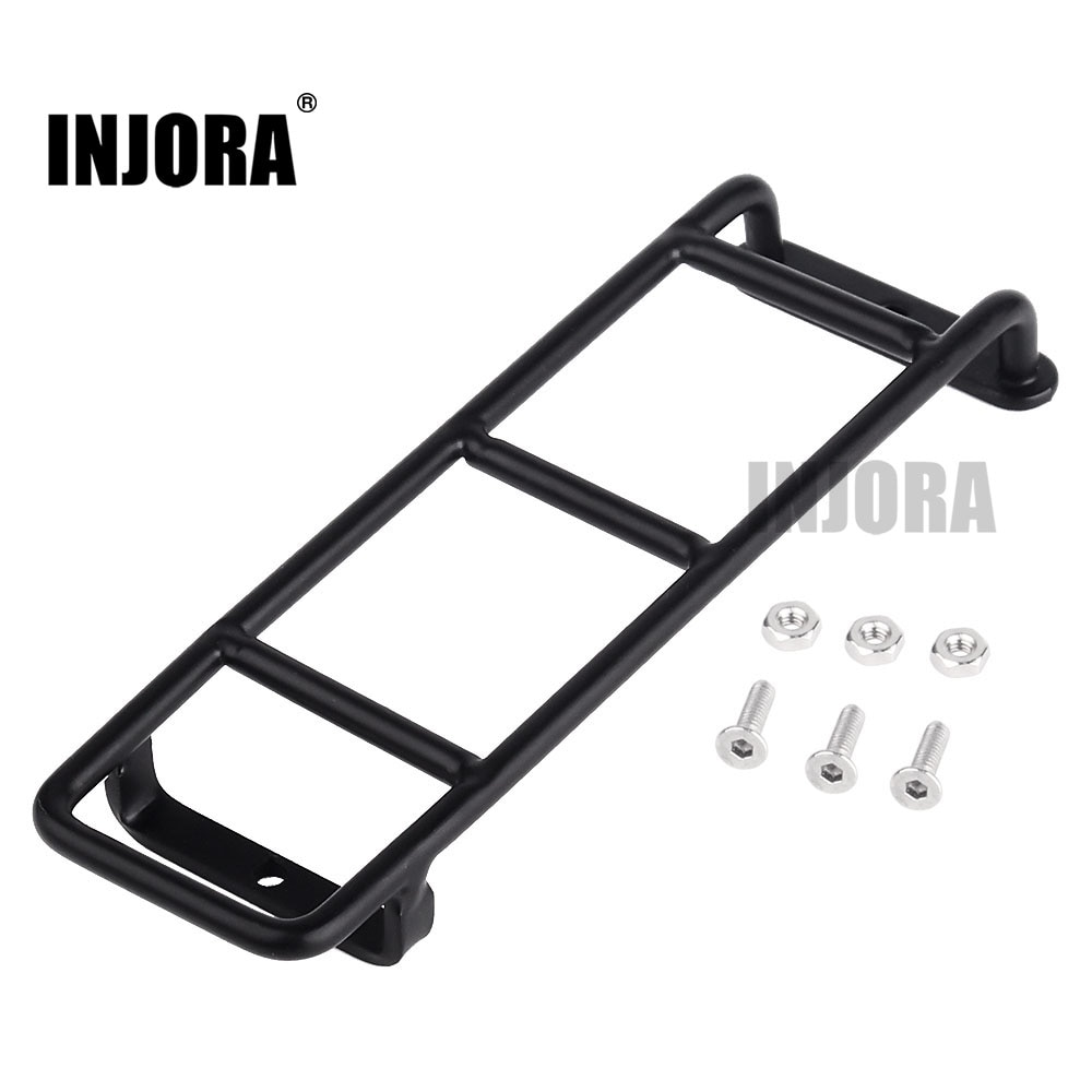 INJORA 1PCS Straight/Curved Metal Black Ladder Stairs for 1:10 RC Rock Crawler Traxxas TRX4 Axial SC