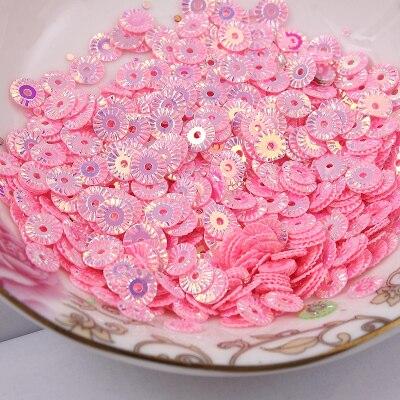 3000 pçs 6mm roda redonda flor chapeamento de ouro lantejoulas soltas costura pvc diy paillette rosa confetes spangles