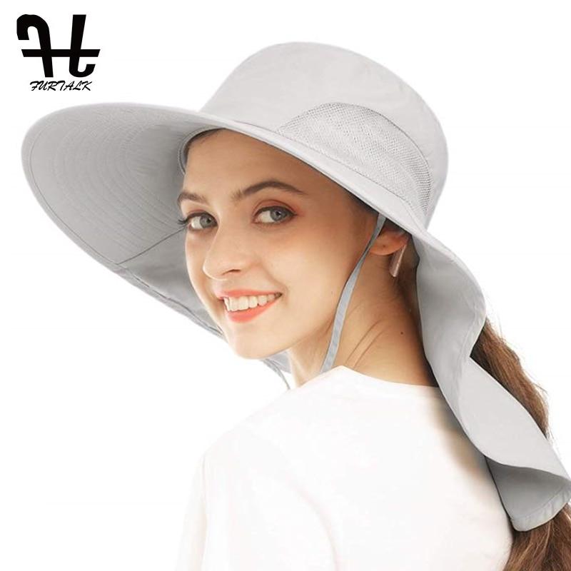 FURTALK-قبعة شمسية نسائية ، ذيل حصان ، غطاء برقبة ، حماية من الشمس ، مسامي ، مثالي لصيد الأسماك والمشي لمسافات طويلة