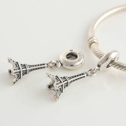 Authentieke 925 Sterling Zilver Mode Geneste Charms Eiffeltoren Kralen Past Europese Zilveren Charm Armbanden Snake Chain