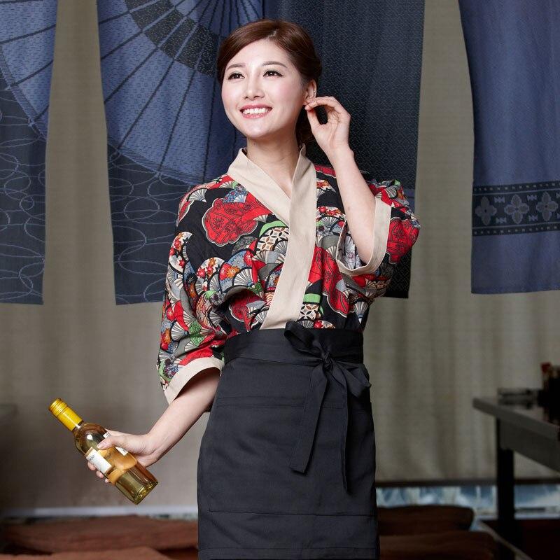 2018 Unisex japonés Corea estilo de manga media chef cocinero uniforme superior camarero ropa de trabajo restaurante cocinar camisa traje estampado de flores