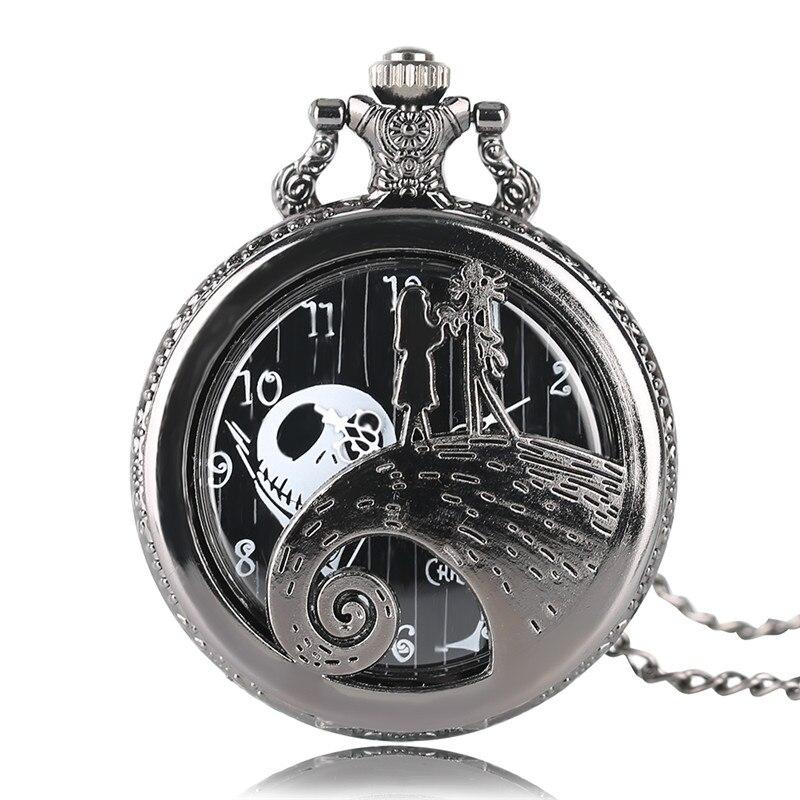 Reloj de bolsillo de cuarzo de moda de regalo, colgante de cadena de pesadilla antes de Navidad para hombre y mujer