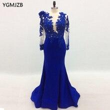Elegent robes De soirée à manches longues 2020 sirène perlée dentelle femmes bleu Royal Robe De soirée formelle Robe De bal Robe De soirée