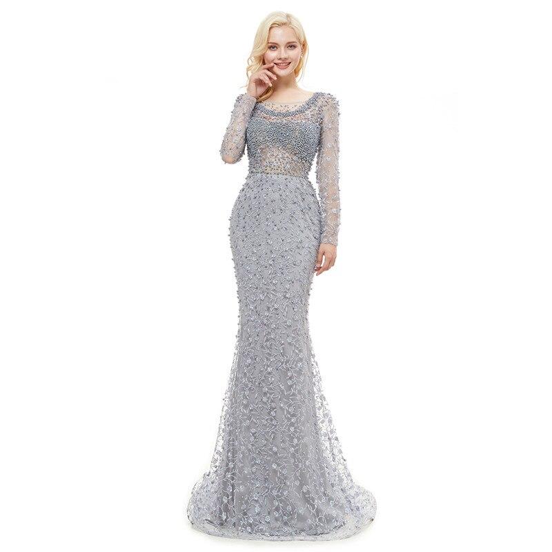 Купить с кэшбэком Long Sleeves Evening Dresses Luxury 2020 Mermaid Heavy Crystals Beading Lace Arabic Women Formal Party Prom Gowns