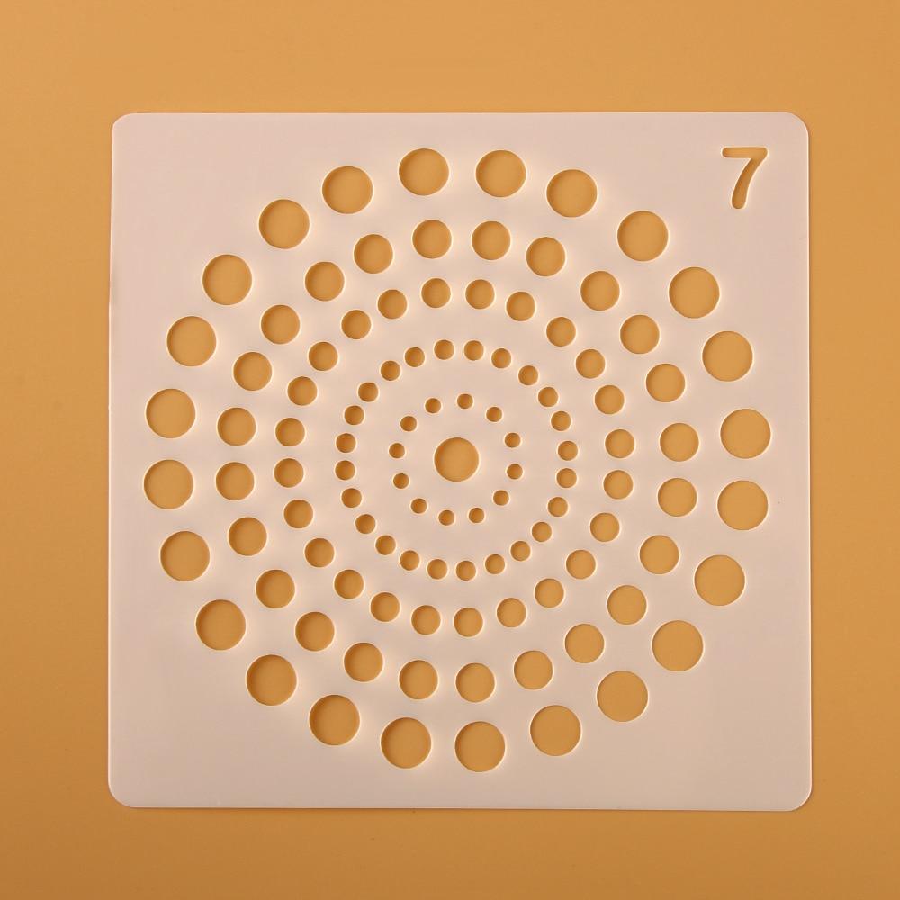Plantillas de mándala redonda hueca para capas auxiliares para paredes pintura Sello de álbum de recortes álbum de decoración Plantilla de tarjeta de papel de grabado